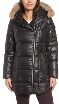 Andrew Marc Women's Down & Feather Fill Coat With Genuine Coyote Fur