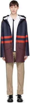 Marni Navy and Burgundy Stutterheim Edition Colorblock Raincoat