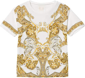 Versace White and Gold Baroque Print T-Shirt