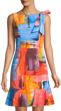 Donna Ricco Printed Shoulder-Bow Flounce Hem Dress