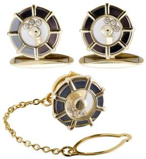 Chopard Happy Diamonds 18K Yellow Gold Cufflinks and Tie Tag Set