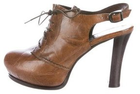 Henry Beguelin Leather Peep-Toe Booties