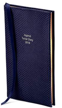Aspinal of London Social Diary In Midnight Blue Lizard