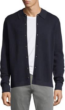 Neiman Marcus Collared Pique Wool-Silk Cardigan