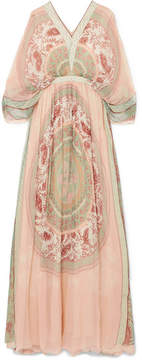 Chloé Printed Silk-crepon Maxi Dress - Pink