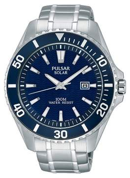 Pulsar Men's Solar Sport Watch - Silver Tone with Blue Dial - PX3067