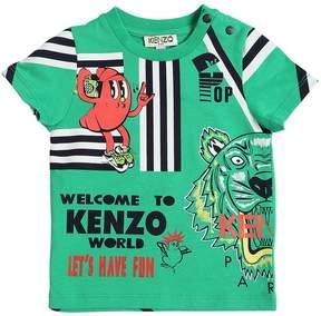Kenzo Lion & Tiger Print Cotton Jersey T-Shirt