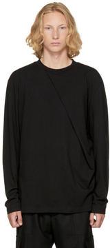 D.gnak By Kang.d Black Long Sleeve Oblique T-Shirt