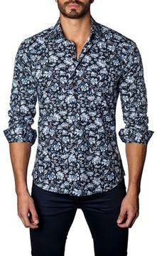 Jared Lang Men's Trim Fit Damask Floral Sport Shirt