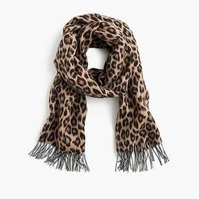 J.Crew Italian wool-blend scarf in leopard