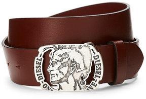 Diesel Logo Plaque Leather Belt