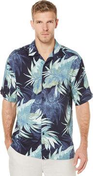 Cubavera Big & Tall Short Sleeve Window Pane Tropical Print Shirt