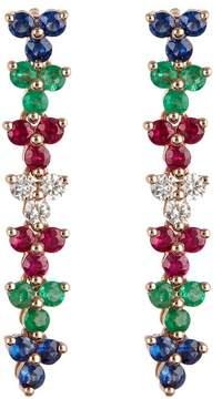 Ef Collection 14K Rose Gold Triple Cluster Multi-Color Diamond Drop Earrings - 0.18 ctw