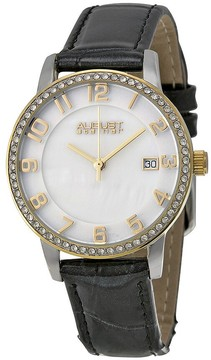 August Steiner Mother of Pearl Dial Gold-Tone Ladies Watch AS8056YG