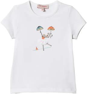 Lili Gaufrette White Ballerina Print and 3D Skirt T-Shirt