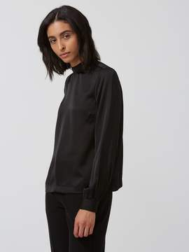 Frank and Oak Satin Gathered Mock-Neck Top in True Black