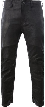 Julius leather slim fit trousers