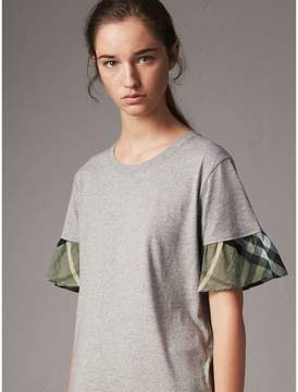 Burberry Flared-sleeve Check Detail Cotton T-shirt