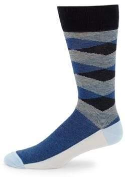 Saks Fifth Avenue Diamond Mille Righe Crew Socks