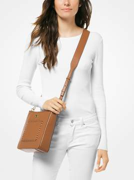 MICHAEL Michael Kors Gloria Whipstitched Leather Messenger