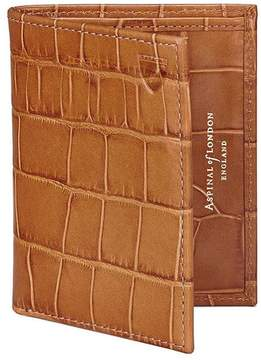 Aspinal of London Double Credit Card Case With Back Pocket In Deep Shine Vintage Tan Croc Cappuccino Suede