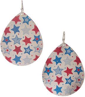 Carole Silvertone Stars Teardrop Earrings