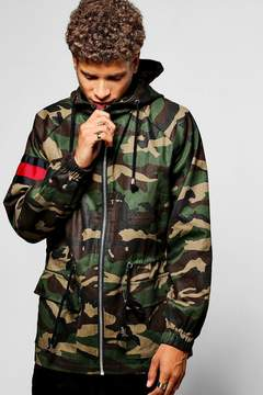 boohoo Hooded Camo Parka W/ Contrast Red Panel
