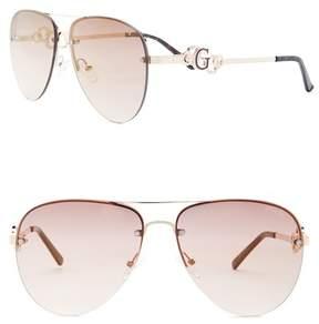 GUESS Women's Aviator Metal Frame Sunglasses