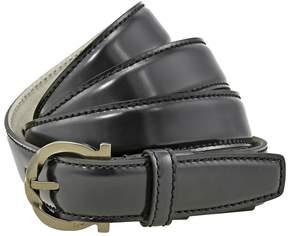 Salvatore Ferragamo Gancini Buckle Leather Belt - Black