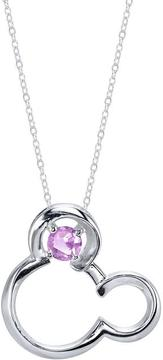 Disney Sterling Silver Mickey Mouse Pendant with Lab-Created Pink Sapphire