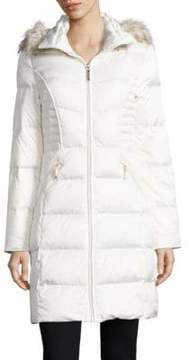 Ellen Tracy Hooded Faux Fur Trimmed Quilted Coat