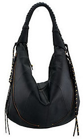 Oryany As Is Leather Multi-Zipper Hobo Bag with Tassels