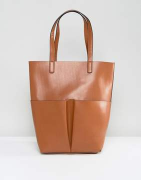 Glamorous Pocket Tote Bag in Tan