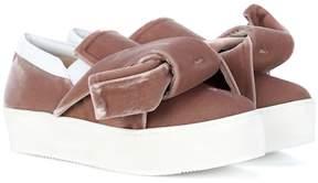 N°21 Velvet platform slip-on sneakers