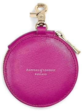 Aspinal of London | Round Coin Purse With Keyring In Orchid Saffiano | Orchid saffiano