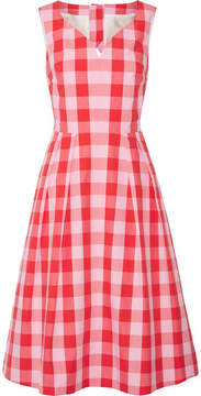 Draper James Cutout Gingham Cotton-poplin Dress - Pink
