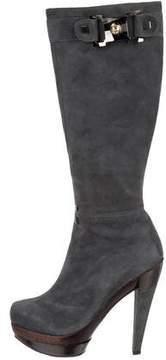 Baldinini Suede Round-Toe Boots