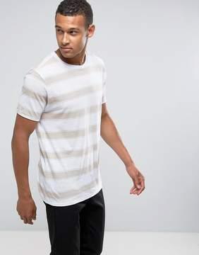 MANGO Man Striped T-Shirt In Ecru