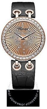 Chopard Xtravaganza Diamond 18k Rose Gold Black Leather Ladies Watch