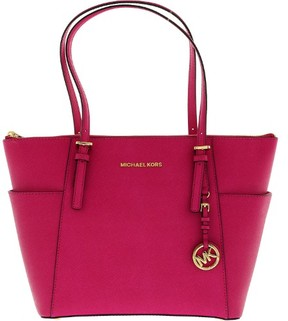 Michael Kors Women's Large Jet Set Leather Shoulder Bag Tote - Raspberry - RASPBERRY - STYLE