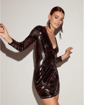 Express sequin mesh long sleeve mini dress
