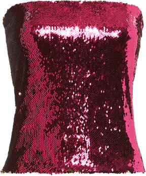 Alexandre Vauthier Pink And Gold Sequin Strapless Top