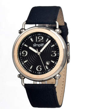 Simplify Mens The 1600 Wood-Bezel Leather-Band Watch With Date Sim1602