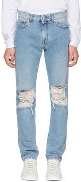 MSGM Blue Distressed Slim Jeans
