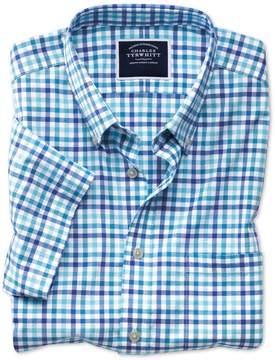 Charles Tyrwhitt Slim Fit Poplin Short Sleeve Blue Multi Gingham Cotton Casual Shirt Single Cuff Size Small