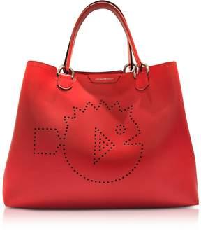 Emporio Armani Cyber Waterworld Leather Tote Bag