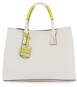 Neiman Marcus Contrast Pop Faux Satchel Bag