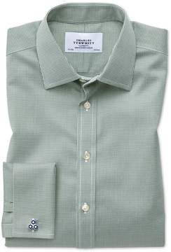 Charles Tyrwhitt Classic Fit Non-Iron Puppytooth Olive Green Cotton Dress Shirt French Cuff Size 16/34