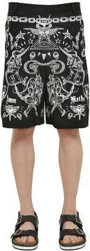 Tattoo Printed Cotton Twill Shorts