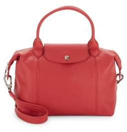 Longchamp Le Pliage Cuir Leather Top Handle Bag - MEDIUM PINK - STYLE